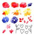 set valentine day design elements love flowers vector image vector image