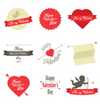 set valentine s day red labels and badges vector image vector image