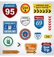 set vintage gasoline retro signs and labels vector image