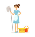smiling maid character wearing uniform with bucket vector image vector image