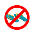 stop slippers ban summer shoes red traffic sign vector image vector image