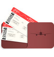 two realistic airline tickets or boarding pass i vector image vector image