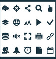 user icons set with search link mute and other vector image