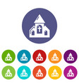 wedding church icons set color vector image