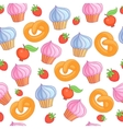Sweet pattern cakes on white background Seamless vector image