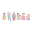 bundle of cute newborn babies or small children vector image