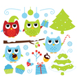 Christmas cartoon owls and decoration set isolated vector image