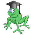 a happy smiling frog wearing black graduate vector image