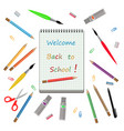 back to school with notebook and school supplies vector image