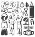 Boxing Black White Elements Set vector image vector image