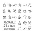 breast cancer and healthcare icons set vector image
