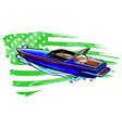 cartoon speedboat with american vector image