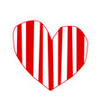 cute big red hand drawn heart sticker with vector image
