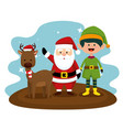 deer with santa claus and elf to christmas vector image vector image