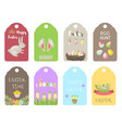 easter gift tags labels with cute cartoon vector image vector image