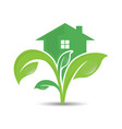ecology logo logo of green leaf and house vector image vector image