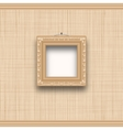 Empty square picture frame on a beige wall with vector image