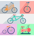 Flat set bicycles exercise bike circus city vector image