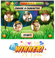 Game template with kids camping vector image vector image