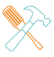 hammer and screwdriver tools equipment repair vector image