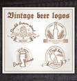hand drawn vintage set of beer logo on wooden desk vector image