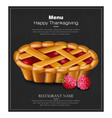 happy thanksgiving pie card 3d detailed vector image vector image