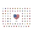 Heart shaped glossy icons flags of world sovereign