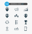 hr icons set with location partnership coins and vector image vector image