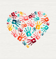 human hand print heart shape love concept vector image