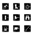 Hunting in forest icons set grunge style vector image vector image