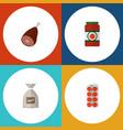 icon flat meal set of sugar bag love apple ham vector image vector image