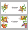 invitation cards with exotic abstract flowers vector image vector image