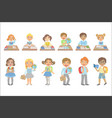 kids behind the desks in school set vector image