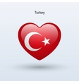 Love Turkey symbol Heart flag icon vector image