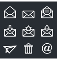 Mail icons set Envelope plane shopping and other vector image
