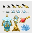 marine set fishes with keys fins and treasures vector image