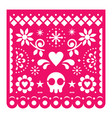 mexican papel picado design pink retro vector image