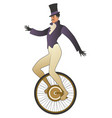 mustached tightrope walker dressed in old vector image