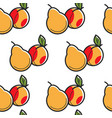 Pear and peach fruits seamless pattern harvest and