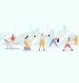 people exercising at gym men and women exercising vector image
