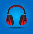 red headphones high quality entertainment stereo vector image