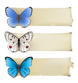 retro butterfly banners3 vector image vector image