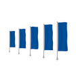 row of blue vertical banner flags vector image