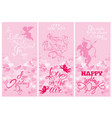 set of 3 holiday vertical banners with cute angels vector image vector image