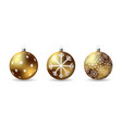 set of 3d christmas balls with winter ornament vector image vector image
