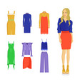 set various summer clothes colorful banner vector image vector image