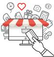 Shopping via internet connection vector image vector image