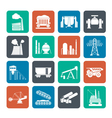 Silhouette Heavy industry icons vector image vector image