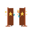 smiling magician walking in and out of the door vector image