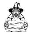 spooky witch holding blank wooden plank vector image vector image